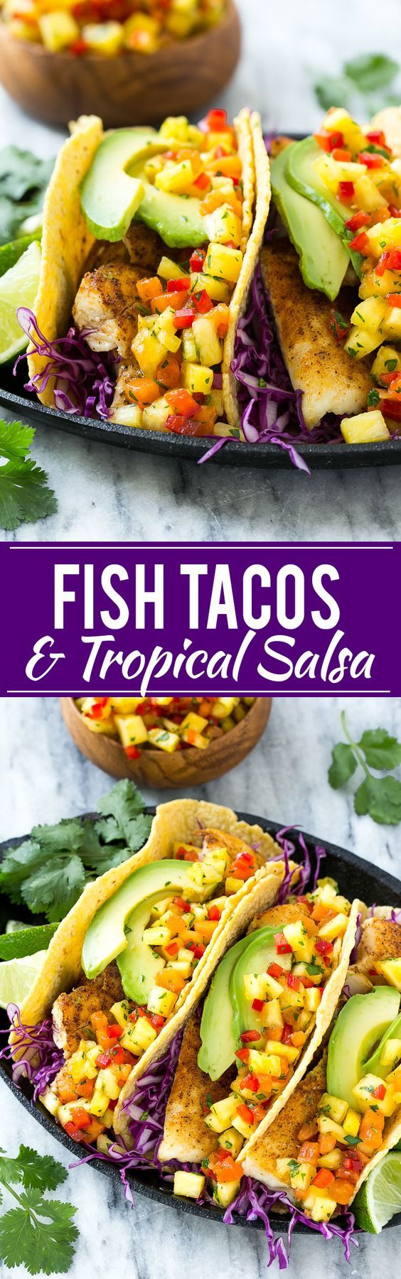 This recipe for tilapia fish tacos is seasoned fish layered with cabbage avocado and a tropical salsa all tucked inside warm corn tortillas. It's a meal that's fast fresh healthy and ready in 20 minutes!