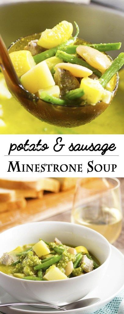 Potato and Sausage Minestrone Soup - An easy and classic minestrone soup filled with pesto, potatoes, vegetables, beans, and sausage. Even better the next day! Serve it with some crusty bread to dip in the the flavorful broth.   http://justalittlebitofbacon.com
