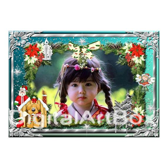 Custom Photo Christmas Card girl boy card 1st by DigitalArtBox