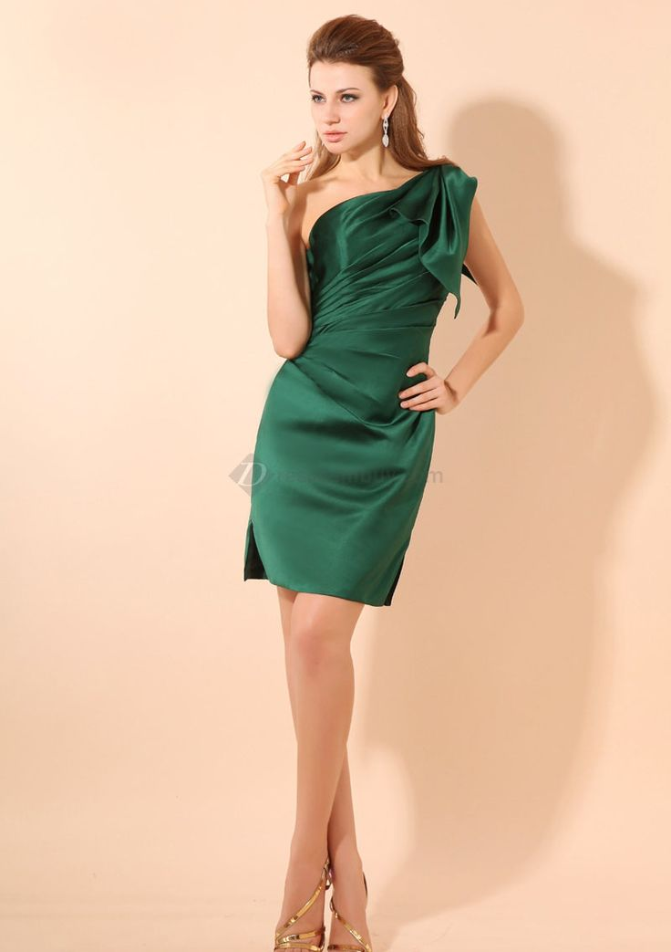 affordable-a-line-ruffles-one-shoulder-dark-green-