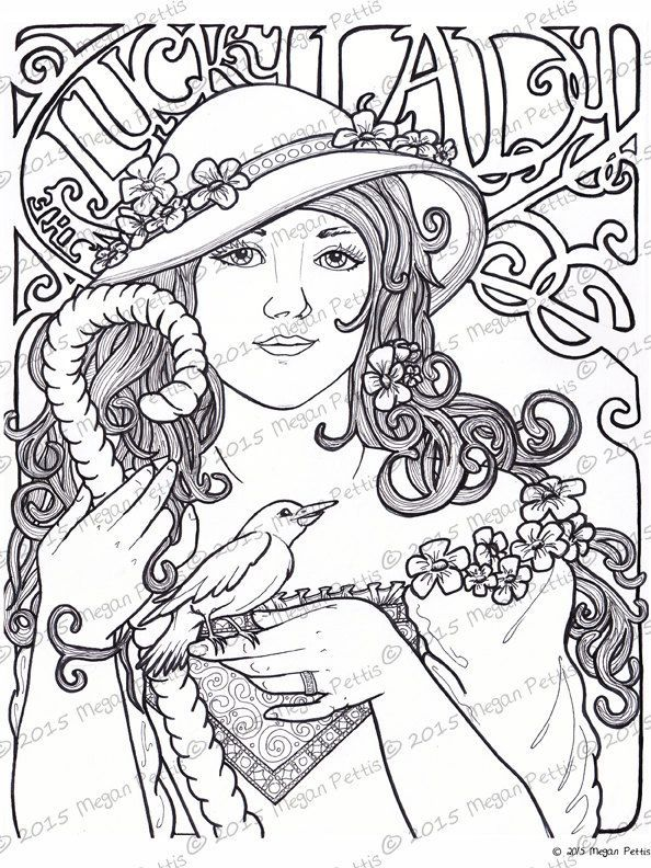 The Lucky Lady Adult Coloring Book Page Digital File Instant Download Print At