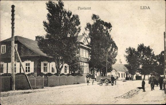 Ak Lida Weißrussland, Postamt, Straßenpartie, Anwohner - 1439709 | eBay