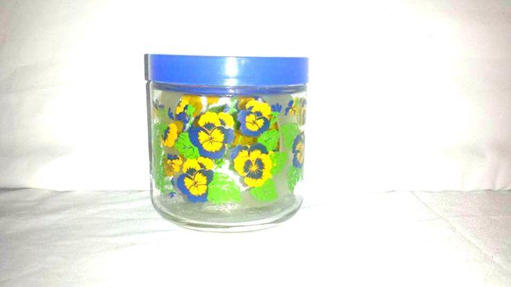 Vintage Pansy Apothecary Jar,Glass Pansy Canister,Glass Storage Jar,Blue Storage Jar,Canning Jar,Pansy,Blue,Yellow,Kitchen Storage,Pint Jar by JunkYardBlonde on Etsy