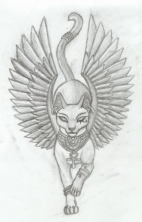 Bastet v1 tattoo by Tharanthiel.deviantart.com