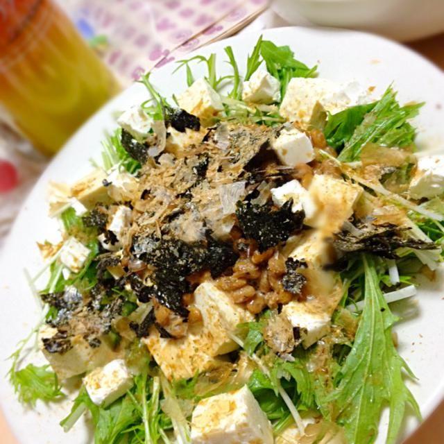 クリチがポイント(ノ∀`) 豆腐と春キャベツも - 31件のもぐもぐ - 納豆と水菜の和風サラダ by yuavy