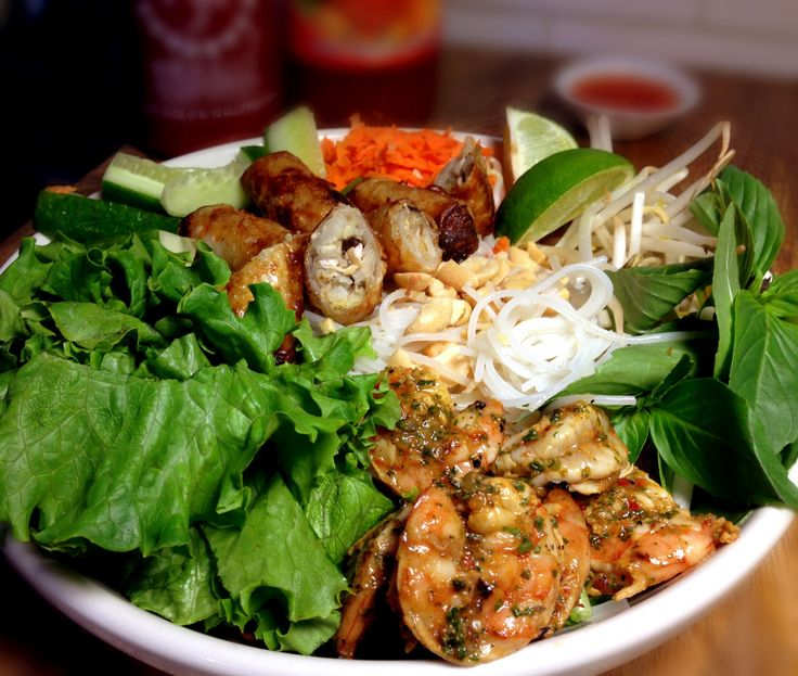 Spicy Lemongrass Grilled Shrimp & Vietnamese Egg Roll (Cha Gio) Vermicelli Salad Bowl