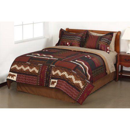 Mainstays Tahoe Cabin Bed in a Bag Bedding Set, King, Multicolor