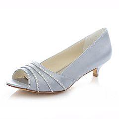 Női-Magassarkú+/+Elől+kivágott+Lábujj-Esküvői+cipők-Szandál-Esküvői+/+Ruha+/+Party+és+Estélyi-Elefántcsont+/+Ezüst+/+Pezsgőszín+–+USD+$+89.98