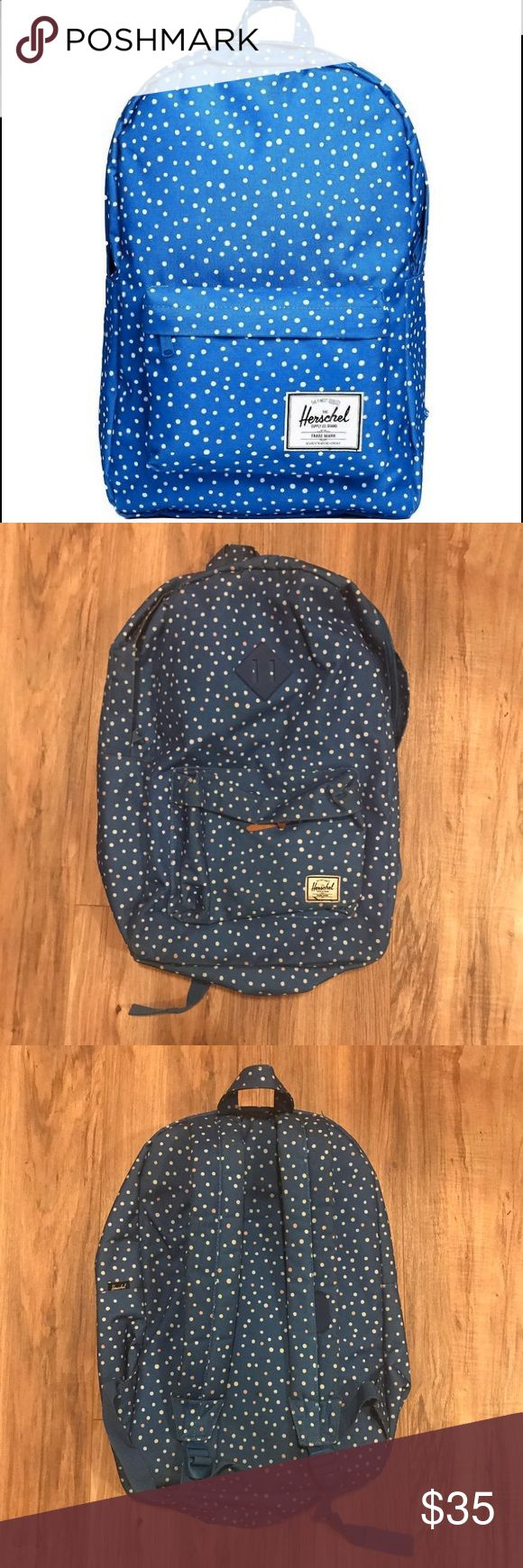 Herschel Supply Co. Heritage Backpack Herschel Supply Co Heritage Backpack, Colbalt Polka Dot/Colbalt Rubber. Gently used. Herschel Supply Company Bags Backpacks