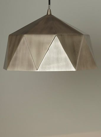 BHS // Illuminate Atelier // Athena Pendant // Brushed chrome folder metal pendant with a contrasting copper inner and black fabric flex cable