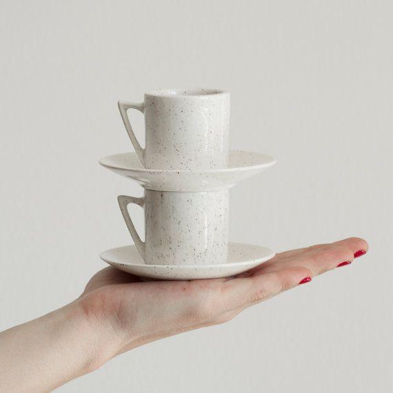 Speckle Ceramic Espresso Cup, Unique Cup Set, Ceramic Espresso Mug, Modern Espresso Mug, Pure White and Ecru Mug