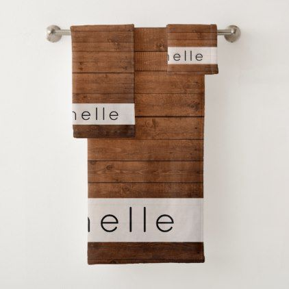 Your Name - Barn Wall Old Wooden Barks - Brown Bath Towel Set - oak gifts tree leaves style nature gift idea cyo