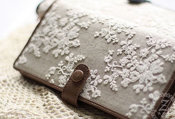Handmade vintage rustic sweet lace leather long bifold wallet for wome…