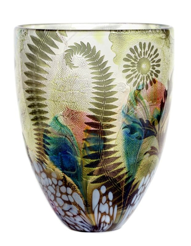 Jonathan Harris hand carved olive Eden Intrinsic fern vase