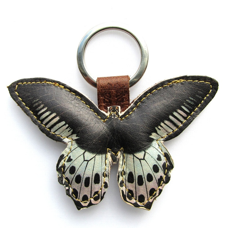www.oakleather.net Leather keychain / bag charm - Blue and Black butterfly. $18.00, via Etsy.