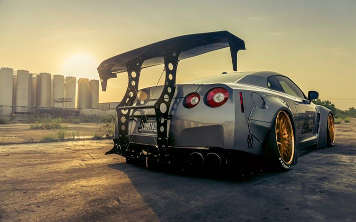 Download wallpapers Nissan GT-R, supercars, factory, 2018 cars, stance, tunned GT-R, R35, tuning, japanese cars, Nissan