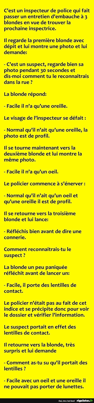 C'est un inspecteur de police qui fait passer ... - RIGOLOTES.fr