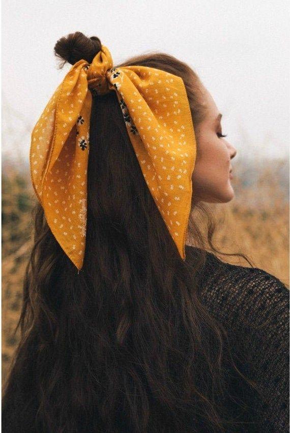 Bandanna, Head Wrap, Neckerchief, Sunflower Yellow Women's Hair Tie, Top Knot Headband, Self Tie Hea   – Products