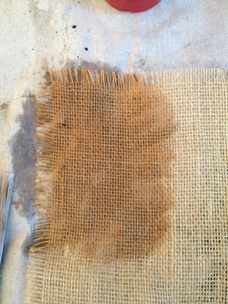 How to Age Burlap {step by step tutorial}
