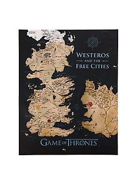 """Prepare to stake your claim over Westeros with the help of this handy piece of wall art, designed to look like a map of the mythical setting of the hit HBO series, <i>Game Of Thrones</i>. It might not spare your House from bloodshed, but it will make your living space look extra cool.<br><ul><li style=""""list-style-position: inside !important; list-style-type: disc !important"""">22"""" x 28""""</li><li style=""""list-style-position: inside !important; list-style-type: disc…"""