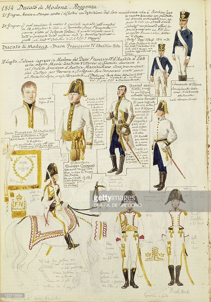 Foto stock : Uniforms of Duchy of Modena, by Quinto Cenni, color plate, 1814