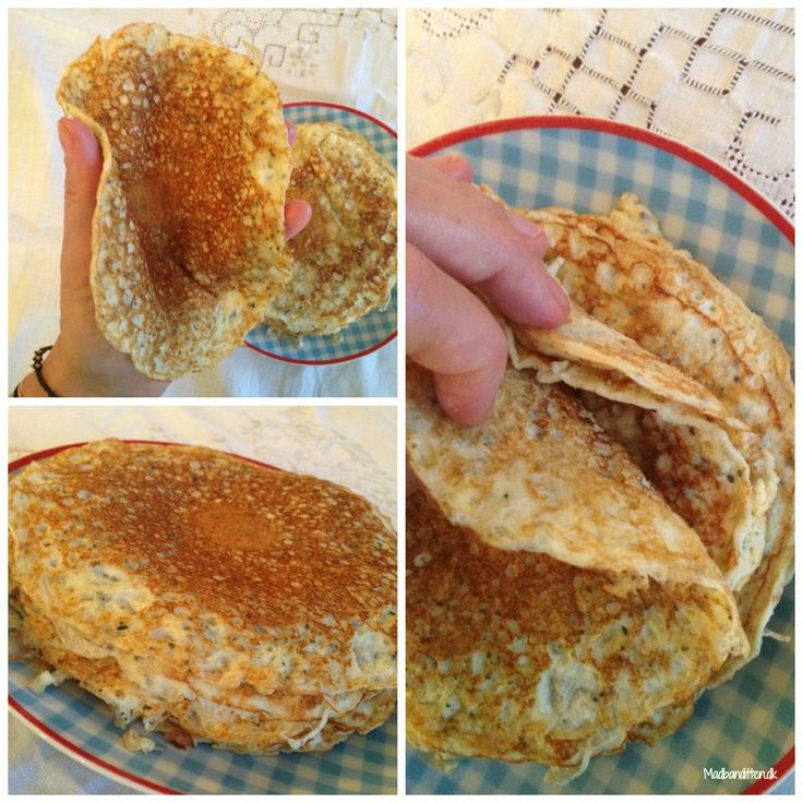 Easy Peasy Pancakes (site is in Swedish I believe... but I translated with Google) | 4 eggs, 200 g of cottage cheese (4%), ½ C cream, 1 tablespoon of psyllium husk, 1 tbsp hemp seeds, 1 tablespoon of chia seeds -- Hemp seeds and chia seeds may be omitted in favor of an extra ½ to 1 TB of psyllium husk. -- Blend all ingred. so the batter is lump-free and fry them in the pan in butter or coconut oil.  (nemme madpandekager) - Madbanditten