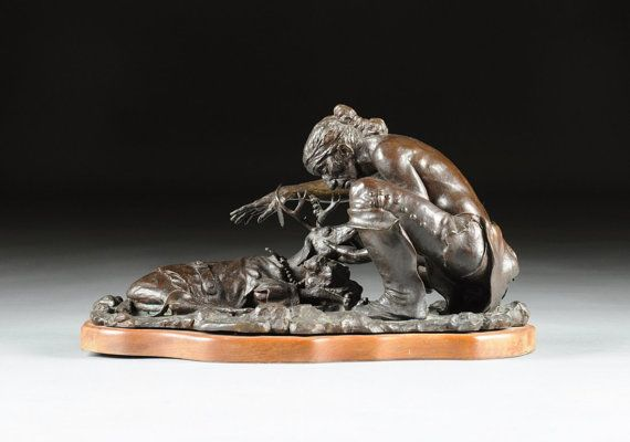 Bronze Sculpture : Native American Sculpture Patinated Bronze