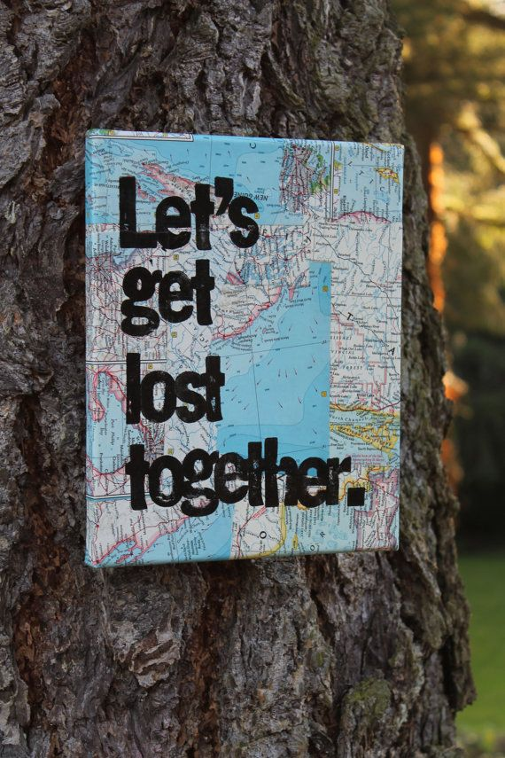 """READY TO SHIP - 30% off - 8x10 """"Let's get lost together"""" vintage map quote canvas hand painted/stamped"""