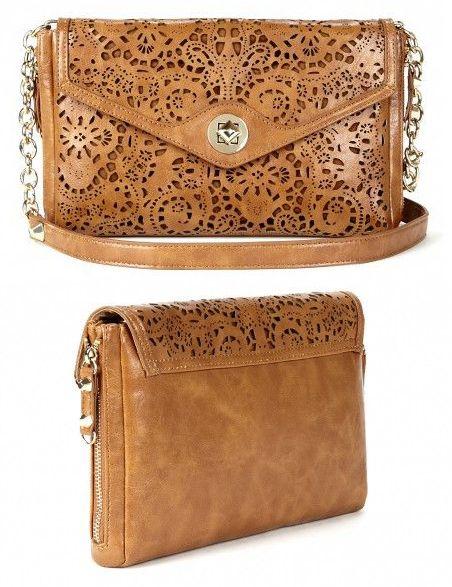 laser cut purse in cognac
