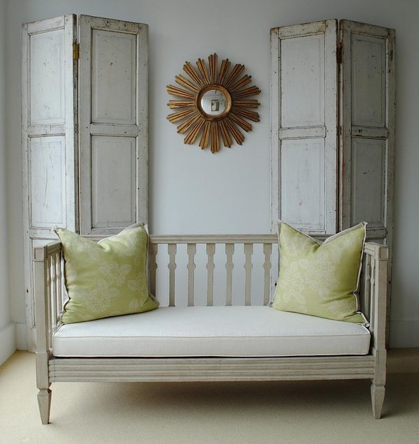 Gustavian Swedish Style | Laurel Home Blog | by Laurel Bern Interiors Shutters on top of fireplace with corner cabinets