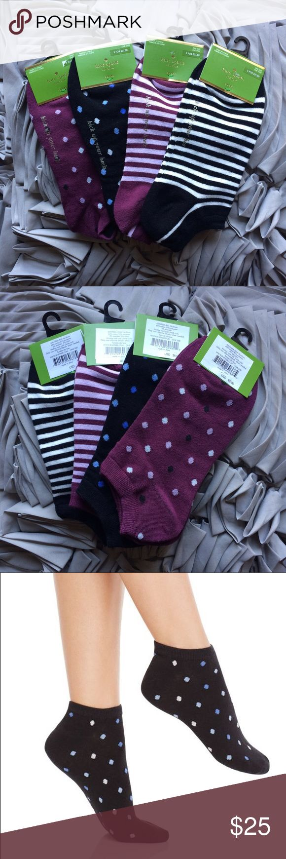 Kate Spade Dot/Stripe Sock Bundle - 4 Pairs! Four pairs of Kate Spade no show socks. Sock 1 - Purple w/ light purple, black and white dots. Sock 2 - Black w/ blue and white dots. Sock 3 - Purple and white stripes. Sock 4 - Black and white stripes. Material: Cotton, polyester, spandex, nylon. One size fits most. Last pic to show fit. 🚫 trades. kate spade Accessories Hosiery & Socks