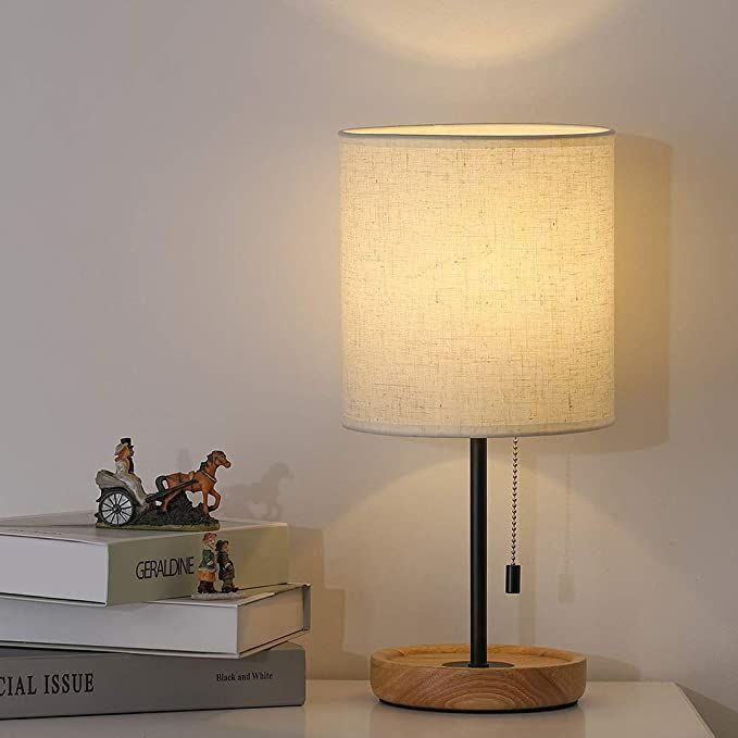 Modern Table Lamp Nightstand Desk Lamp Bedside Lamp With Wood Base And Linen Shade For Living Room Bedro In 2020 Modern Table Lamp Modern Lamps Bedroom Bedside Lamp