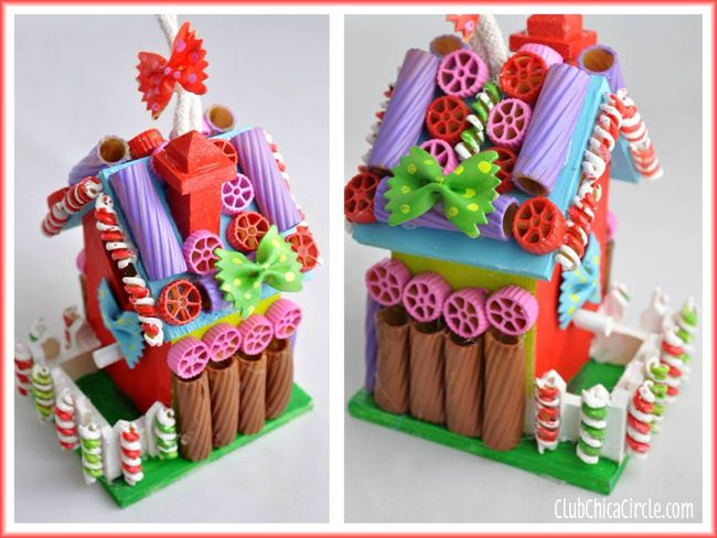 Painted Pasta Gingerbread Birdhouse Holiday Craft Idea | Tween Craft Ideas for Mom and Daughter