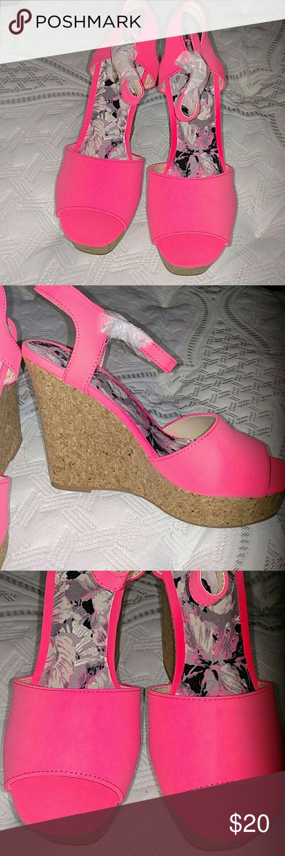 Hot pink wedge sandals Brand new in the box hot hot pink cork wedged sandals!! Perfect for spring/summer. Qupid Shoes Sandals