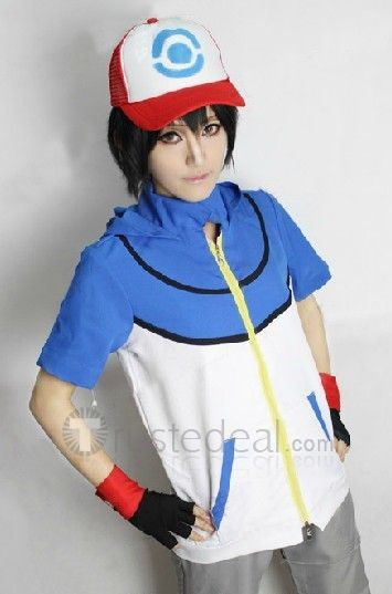 Pokemon Ash Ketchum Cosplay Costume Blue White Version $59.99 - Pokemon Cosplay Costumes - Trustedeal.com