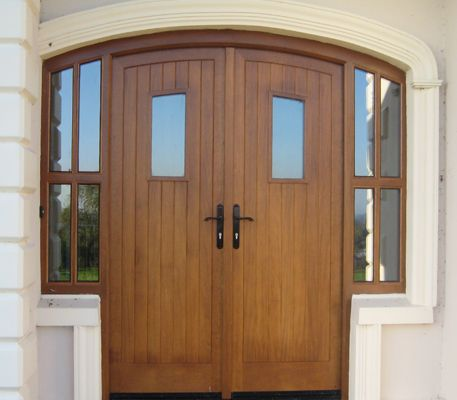 Arched Double Doors with Side Windows, Hardwood Mid Oak.jpg 457×400 pixels