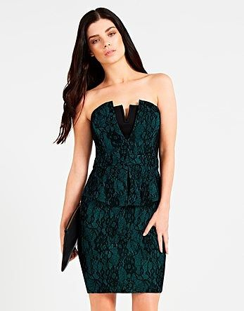 Womens bottle green lace peplum bodycon dress from Lipsy - £60 at ClothingByColour.com