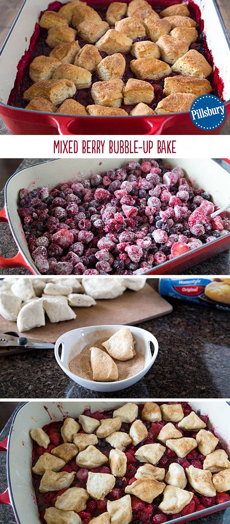 Sugar-cinnamon-coated biscuits take this Mixed Berry Bubble-Up Bake fruit cobbler over the top! It's easily made for a crowd. Mix it up by using your favorite in-season fruits and you're all set.