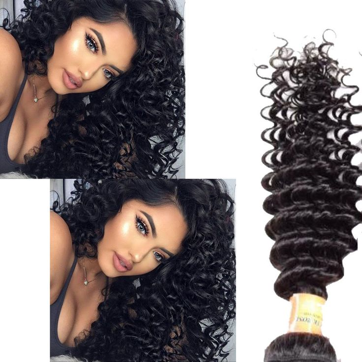 """Brazilian 14"""" 300g Real Human Hair Extension 1b# Deep Curly Hair Weave Weft #Unbranded"""
