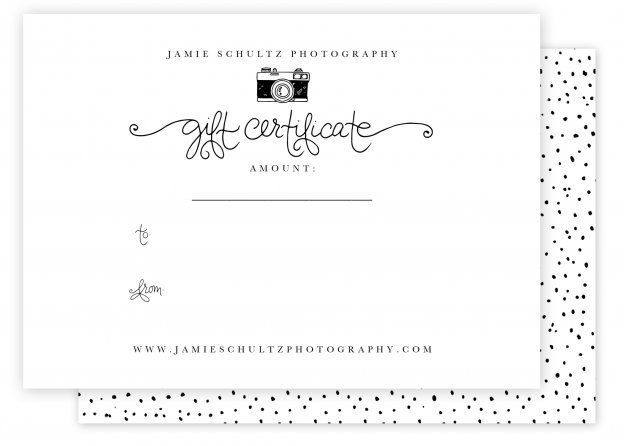 Camera Collateral$20 The sweet and simple camera collateral set includes a gift certificate template, a 4x5.5 inch folded Thank You card, and a 3x3 circle sticker (a perfect touch for packaging your prints/products for delivery). *Please note the script front is hand-drawn and cannot be altered.