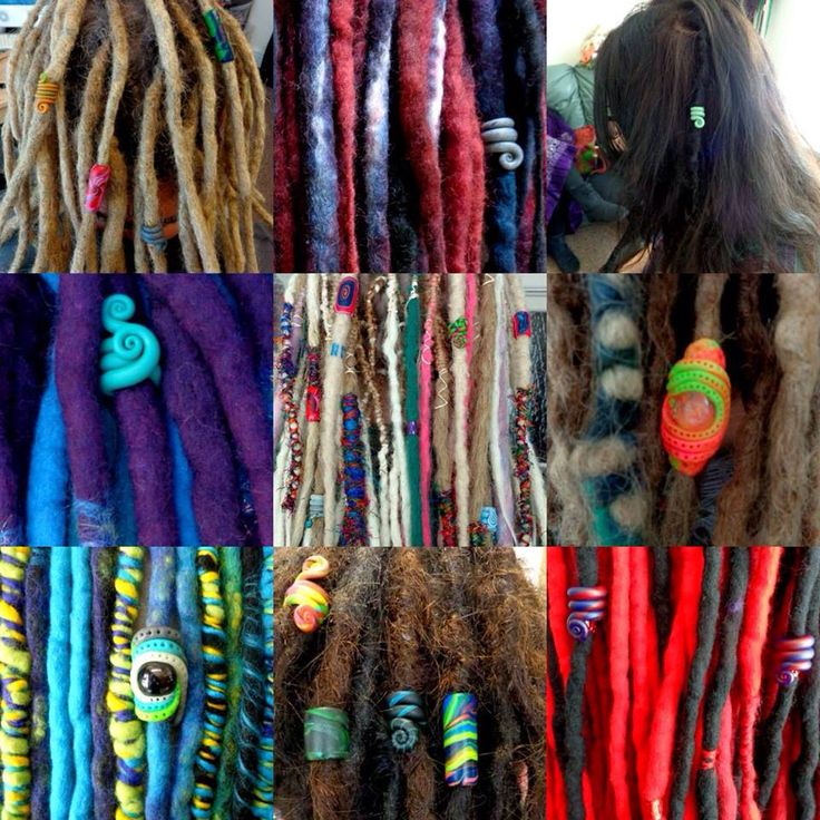 Dread bead love from Knot far from Hair with Monarch Dreads dreadlocks and Wool dreadlock with embellished ends.  Find us both on Facebook  <3