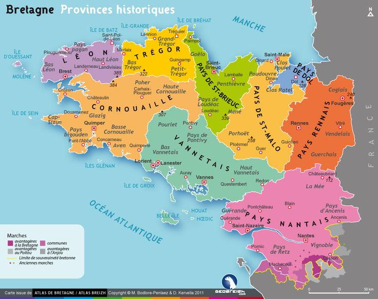 Carte des pays bretons et provinces historiques - Bretagne
