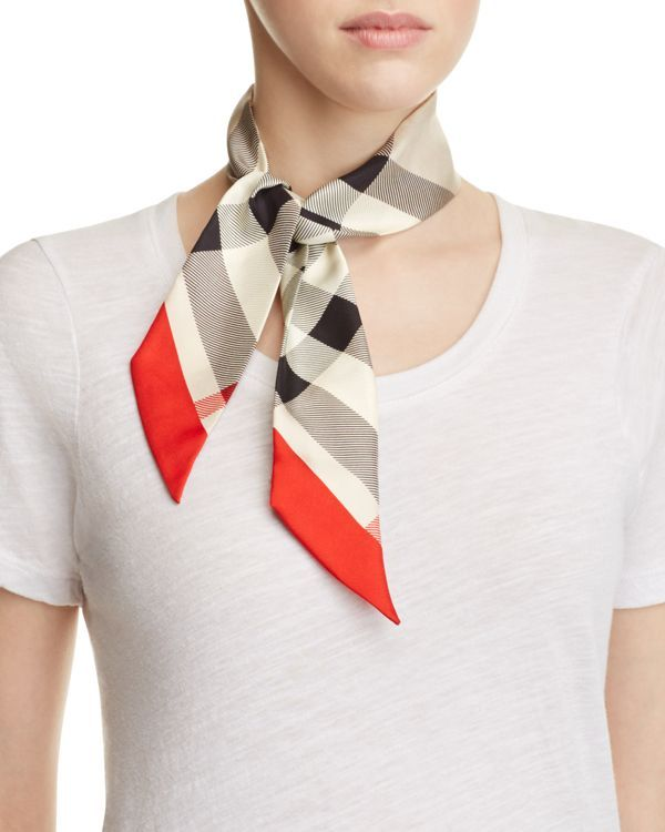 """Burberry Skinny Super Exploded Check Silk Scarf 