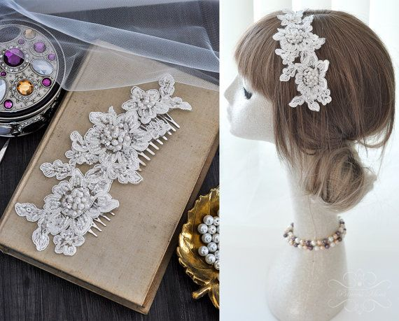 Bridal Vintage Headpiece Lace Haircomb Lace Comb by MimiPrincess