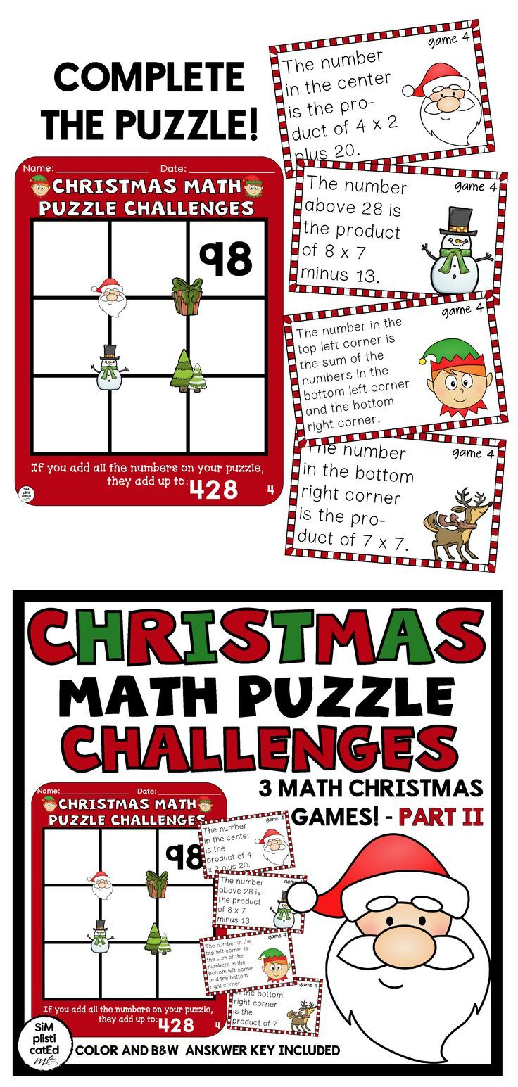 Christmas Math Challenges Multiplication Addition Subtraction Puzzles Part 2 Math Challenge Addition And Subtraction Math Addition and subtraction challenges