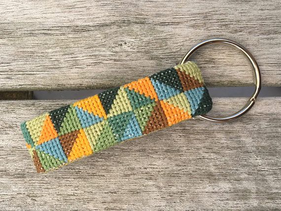 Keyhanger / keychain cross-stitch embroidery and moss-green