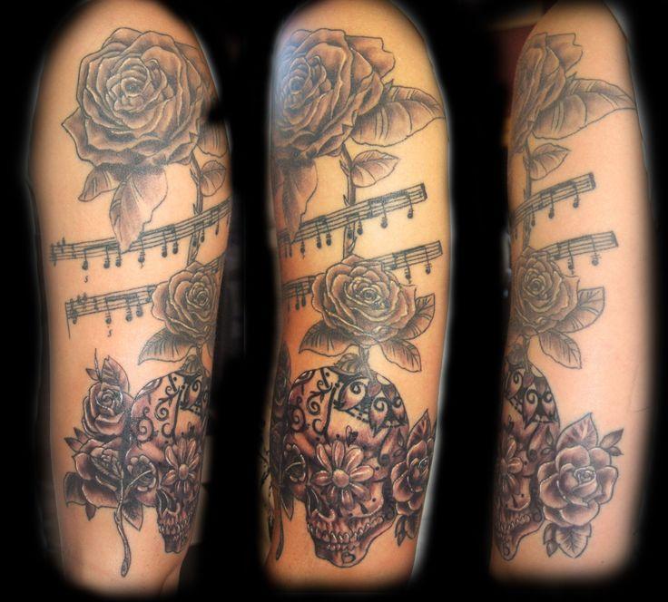 sugar skull music rose half sleeve microphone tattoo pinterest tattoo microphone tattoo. Black Bedroom Furniture Sets. Home Design Ideas
