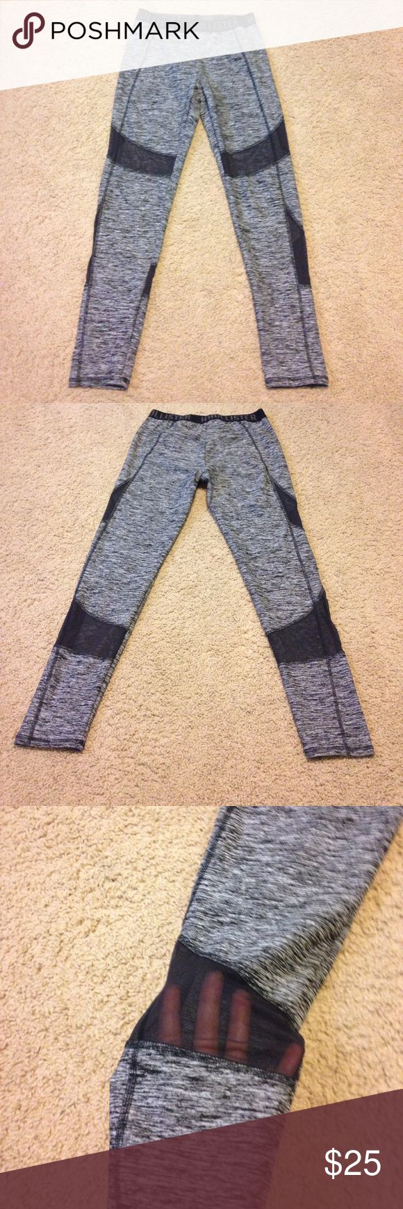Mesh Hollister Leggings Black and white striped leggings with mesh on the lower thighs and back of calves. They are very comfortable, they just don't match my closet. Only worn 2-3 times. Hollister Pants Leggings