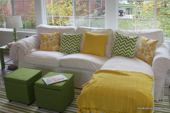 I LOVE her sunny yellow/green sun room decor!