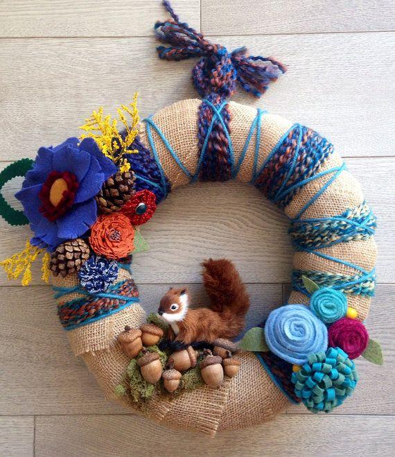 Yarn Wreath Fall Yarn Wreath Modern Fall Wreath by Lizzyandlois